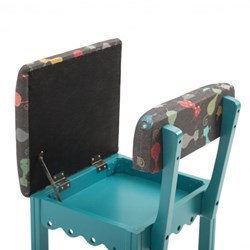 Blue Sewing Chair With Black Cats Fabric