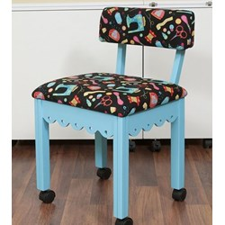 Blue Sewing Chair With Black Riley Blake Sewing Notions Fabric