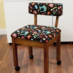 Oak Sewing Chair With Black Riley Blake Sewing Notions Fabric