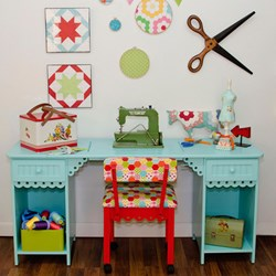 Blue Olivia Sewing Machine Table/Desk by Arrow