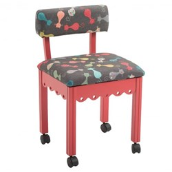 RED Sewing Chair With Black Cats Fabric