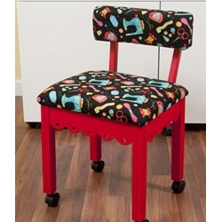 Red Sewing Chair With Black Riley Blake Sewing Notions Fabric