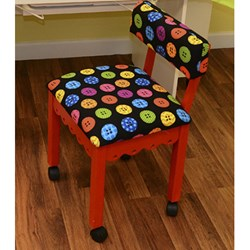 Red Sewing Chair With Riley Blake Button Fabric