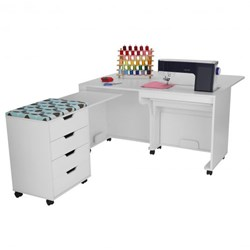 Laverne & Shirley (White)  Sewing Machine Cabinet and Storage Combo