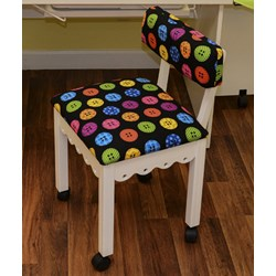 White Sewing Chair With Riley Blake Button Fabric