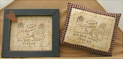 Ragged Hearts Sampler with Primitive Wood Blue Frame