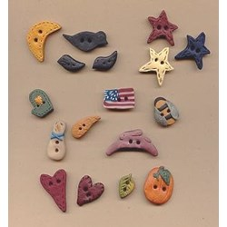 Hand Made Clay Buttons -  Black  Star