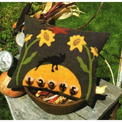 Harvest Moon Wool Applique Pillows by 1894 Cottonwood House