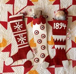 Snowflakes and Peppermints Wool Applique Stockings by 1894 Cottonwood House