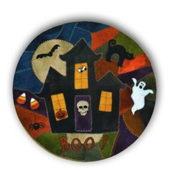 Spooky House Wool Applqiue Crazy Mat Kit by Lakeview Primitives