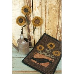 Hooked Potted Sunflower Rug Hooking Pattern