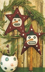 Snowman on Star and Hooked Mat Pattern