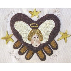 Peace and Joy Angel Punchneedle Embroidery Pattern by Hooked on Rugs for Heart to Hand