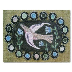 Vintage Find!  Bird & Bluebells Punchneedle Embroidery Pattern by Hooked on Rugs for Heart to Hand