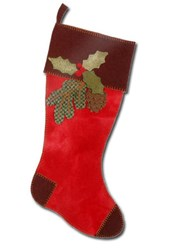 Vintage Find - LAST ONE!  Christmas Pinecone Stocking Wool Applique Kit - Wild Thymes