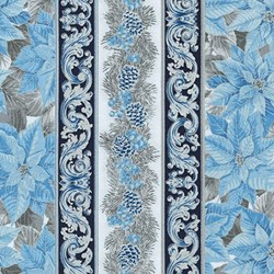 "End of Bolt - 38"" -  - Holiday Flourish - Metallic Blue Border - #19262-4"