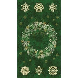 "24"" Panel - Starry Night Green Wreath Panel  - Stonehenge by Northcott"