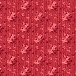 Beacon Hall-  Floral Stripe on Red-  by Deborah Edwards Northcott Studio