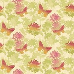 "14"" x 66"" Remnant -  - Radiance Metallic Flying Butterflies- by Deborah Edwards Northcott Studio"