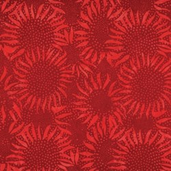 """16"""" Remnant - Bali Hand-dyed Batik - Red Sunflowers- by Hoffman California Fabrics"""