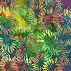 "End of Bolt- 38"" - Bali Hand-dyed Batik - Rainbow Sunflowers- by Hoffman California Fabrics"