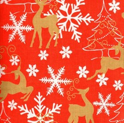 "24"" Remnant - Holiday Prints - Christmas Snowflakes & Reindeer in Red - by AE Nathan Co"