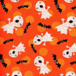 Holiday Prints - Halloween Ghosts and Bats on Orange - by AE Nathan Co