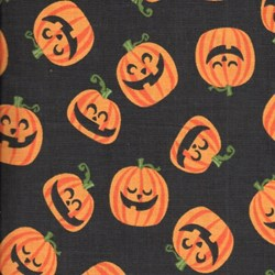 "End of Bolt - 66"" - Holiday Prints - Halloween Pumpkin Heads on Black - by AE Nathan Co"