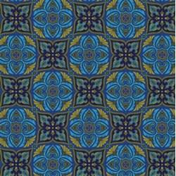 "End of Bolt - 69"" - Arabella - Tile Blue - by Benartex"