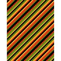"""18"""" Remnant - Caliente Peppers- Multi Stripe Black by Tara Reed for Wilmington Prints"""