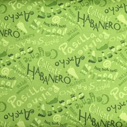 Caliente Peppers- Names on Green by Tara Reed for Wilmington Prints