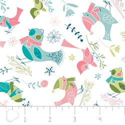 "21"" Remnant - Winter Wonderland by Camelot Fabrics-Birds on White"