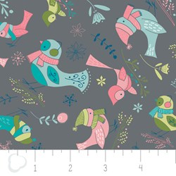 "7"" Remnant - Winter Wonderland by Camelot Fabrics-Birds on Gray"