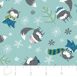 "17"" Remnant - Winter Wonderland by Camelot Fabrics-Foxes on Teal"