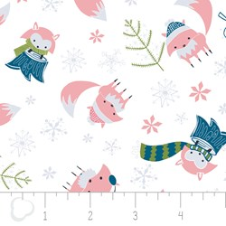 "27"" Remnant - Winter Wonderland by Camelot Fabrics-Foxes on White"