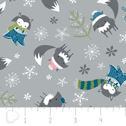 "15"" Remnant - Winter Wonderland by Camelot Fabrics-Foxes on Gray"