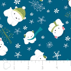 "11"" Remnant - Winter Wonderland by Camelot Fabrics-Bears on Blue"