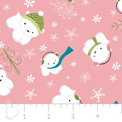 "24"" Remnant - Winter Wonderland by Camelot Fabrics-Bears on Pink"