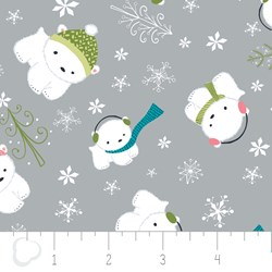 "17"" Remnant - Winter Wonderland by Camelot Fabrics-Bears on light Grey"