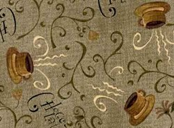 """11"""" Remnant Piece - Choco-Latte Folk Art Quilting Fabric ~ by Whimsicals Quilts ~ Terri Degenkolb for Red Rooster Fabrics"""