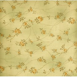 Pireued Fat Quarter - Yellow Floral on Tan/Taupe - Daiwabo Taupes