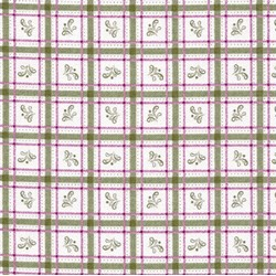 "END OF BOLT -x 69"" --Flourish - Green & Pink Plaid"