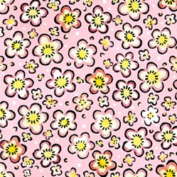 Four Seasons - Spring - Pink Floral Toss - by Julie Paschkis for In The Beginning Fabrics