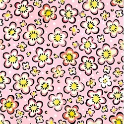"End of Bolt - 85"" - Four Seasons - Spring - Pink Floral Toss - by Julie Paschkis for In The Beginning Fabrics"