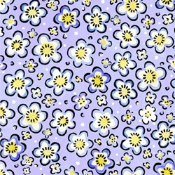 "24"" Remnant - Four Seasons - Spring - Purple Floral Toss - by Julie Paschkis for In The Beginning Fabrics"