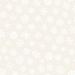 "End of Bolt - 50"" - Four Seasons - Winter - Cream with White Snowflakes - by Julie Paschkis for In The Beginning Fabrics"