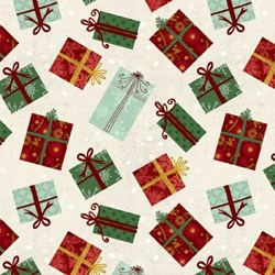 Frosted Holiday - Christmas Gifts on White - by Katie Doucette for Wilmington Prints