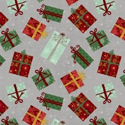 "End of Bolt - 65"" - Frosted Holiday - Christmas Gifts on Grey- by Katie Doucette for Wilmington Prints"