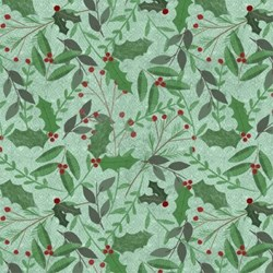 """End of Bolt - 49"""" #54552-773 Frosted Holiday - Holly & Berries on Green - <br>by Katie Doucette for Wilmington Prints"""