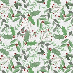Frosted Holiday - Holly & Berries on White - <br>by Katie Doucette for Wilmington Prints